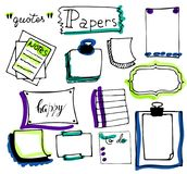 Set of hand drawn paper notes, lists, in vector Stock Photo