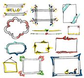 Set of hand drawn paper notes, lists, in vector Stock Photography