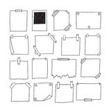 Set of hand drawn paper notes. Notepapers and photo frame. Sketc. H papers for your messages. Vector illustration Stock Photography