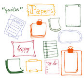 Set of hand drawn paper Stock Image