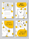 Set of hand drawn Party Cards with doodle elements. Royalty Free Stock Photo