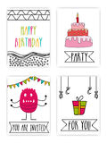 Set of hand drawn Party Cards with doodle elements. stock illustration