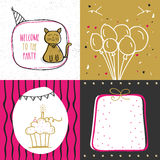 Set of hand drawn Party Cards with doodle elements. Stock Photos