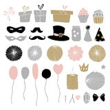 Set of hand drawn party elements. Doodle gift boxes, paper lanterns, balloons and other decorations. Isolated vector Stock Images