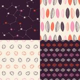 Set of 4 hand drawn patterns. Collection of 4 vector handmade seamless patterns with a organic and bohemian feel to them Stock Photos