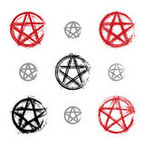 Set of hand drawn pentagram icons scanned Stock Photos