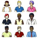 Set of hand-drawn people icons Royalty Free Stock Images