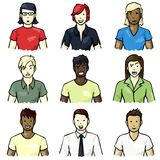 Set of hand-drawn people icons. Set of icons of people with different facial expressions with a hand drawn look. Graphics are grouped and in several layers for Royalty Free Stock Photos