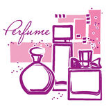 Set of hand drawn perfume bottles Royalty Free Stock Photos