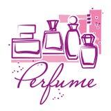 Set of hand drawn perfume bottles Stock Image