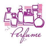 Set of hand drawn perfume bottles Stock Photo