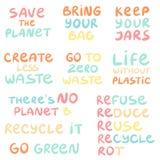 Set of hand drawn phrases on a theme Zero waste stock illustration