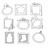 Set of hand drawn picture frames Stock Photos