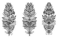 Set of hand drawn plumes. Vector illustration. Royalty Free Stock Images