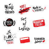 Set of hand drawn Poland labels for products and package with flag, eagle, lettering and branches Royalty Free Stock Photography