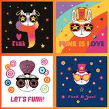 Cute animals in funky hats and glasses. Set of hand drawn portraits of cute funny cartoon animals in funky hats and glasses, with typography.  objects. Vector Stock Photography
