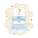 Set of hand drawn question mark and typewriter. Stock Image