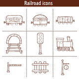 Set of hand drawn railroad icons: wagons Stock Photography
