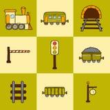 Set of hand drawn railroad icons: wagons Stock Photos