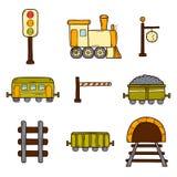 Set of hand drawn railroad icons: wagons Royalty Free Stock Photo