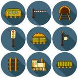 Set of hand drawn railroad icons: wagons Royalty Free Stock Photos