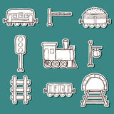 Set of hand drawn railroad stickers: wagons Royalty Free Stock Photo
