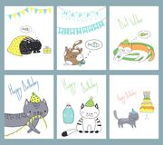 Set of birthday cards with cats. Set of hand drawn ready to use birthday cards templates with cute funny cartoon cats in party hats, typography. Vector vector illustration