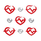 Set of hand-drawn red heart icons, collection of brush drawing h Stock Photos