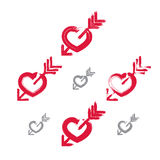 Set of hand-drawn red love heart icons, collection of brush draw Royalty Free Stock Image