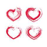 Set of hand-drawn red love heart icons, loving heart signs creat Royalty Free Stock Photography