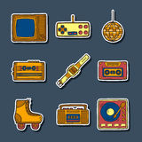 Set of hand drawn retro stickers Royalty Free Stock Photos