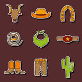 Set of hand drawn rodeo stickers Royalty Free Stock Photography