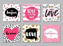 Set of hand drawn romantic and love cards. Valentine`s day backgrounds. Set of hand drawn romantic cards. Valentine`s day backgrounds vector illustration