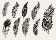 Set of hand drawn rustic decorative feathers Stock Image