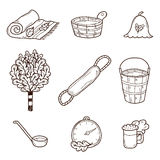 Set of hand drawn sauna icons: broom, towel, hat Stock Image