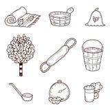 Set of hand drawn sauna icons: broom, towel, hat Stock Image