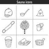 Set of hand drawn sauna icons: broom, towel, hat Royalty Free Stock Photos