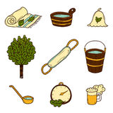 Set of hand drawn sauna icons Stock Image