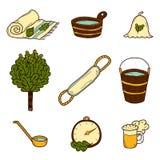 Set of hand drawn sauna icons Stock Image