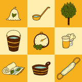 Set of hand drawn sauna icons Royalty Free Stock Images