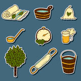 Set of hand drawn sauna icons: broom, towel, hat, wisp, beer, steam. Relaxation, health care or treatment concept for your design Stock Photos