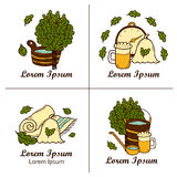 Set of hand drawn sauna logos or badges: broom Stock Image