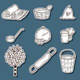 Set of hand drawn sauna stickers: broom, towel Royalty Free Stock Image