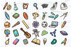 Set of hand-drawn school icons. Vector eps10 illustrations. royalty free stock image