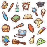 Set of hand-drawn school icons. Detailed colorful cartoon vector illustrations Royalty Free Stock Photography