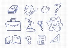 Set of Hand Drawn School icons. Royalty Free Stock Image