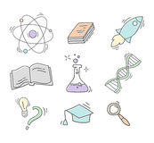 Set of Hand Drawn Science icons Royalty Free Stock Photos