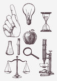 Set of hand drawn science objects. Royalty Free Stock Images