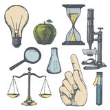 Set of hand drawn science objects. Stock Image