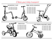 Set hand drawn scooters and bicycles. Vector illustration of  set hand drawn scooters and bicycles, balance bike. Hand drawn template Stock Images